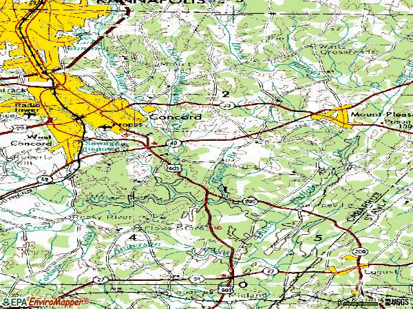 Zip code 28025 topographic map