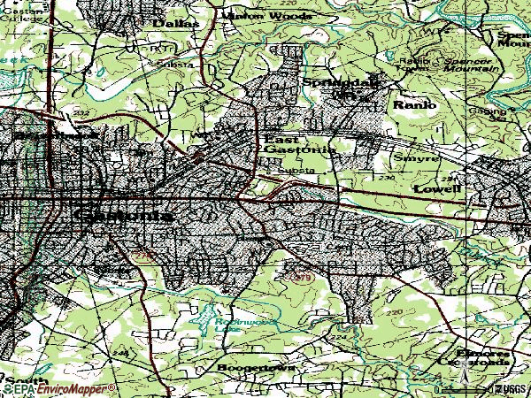 Zip code 28054 topographic map