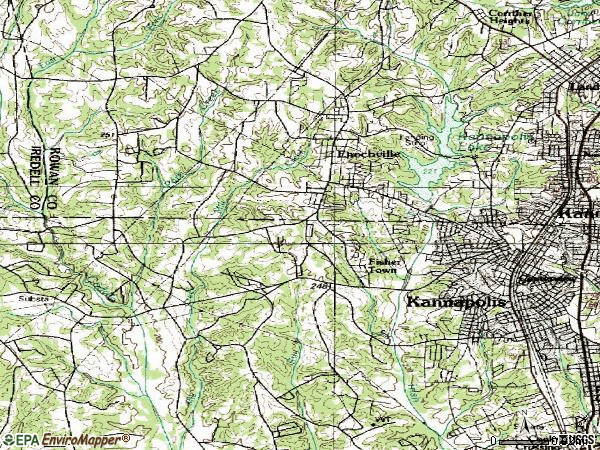 Zip code 28081 topographic map
