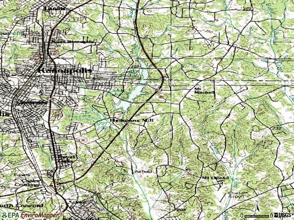 Zip code 28083 topographic map