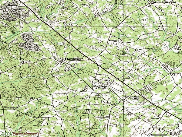 Zip code 28105 topographic map