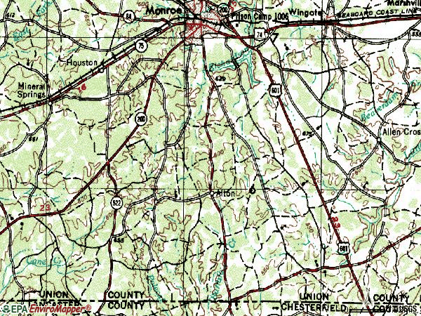 Zip code 28112 topographic map