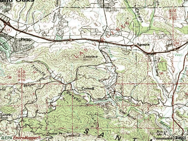 Zip code 91301 topographic map