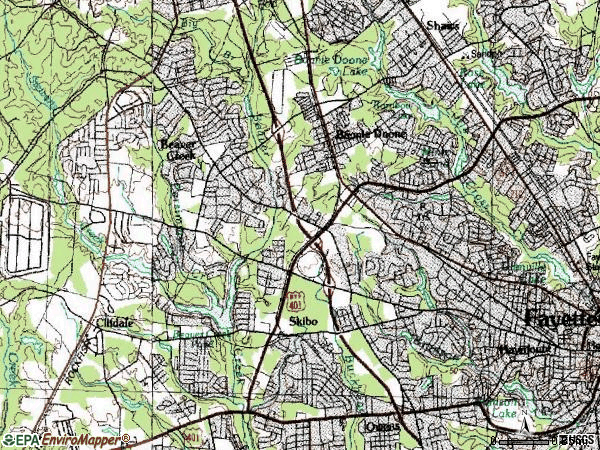 Zip code 28303 topographic map