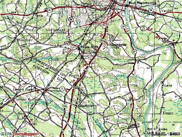 Zip code 28306 topographic map