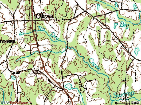 Zip code 28368 topographic map
