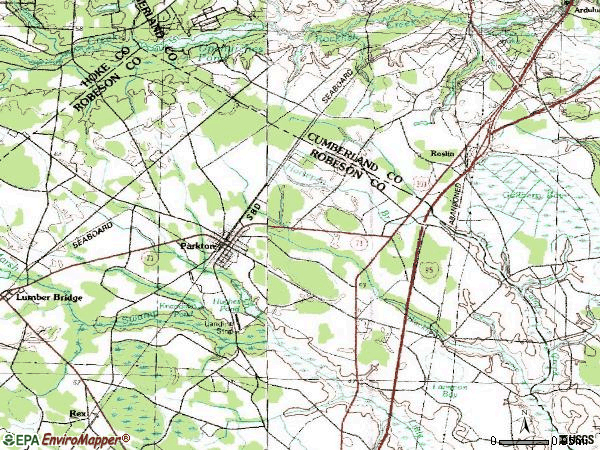 Zip code 28371 topographic map