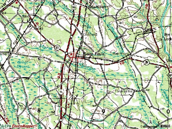 Zip code 28384 topographic map