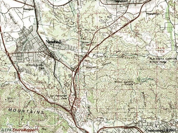 Zip code 91321 topographic map
