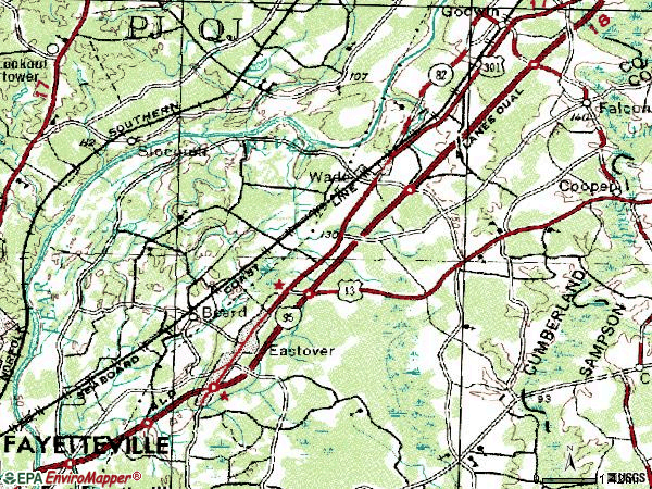 Zip code 28395 topographic map