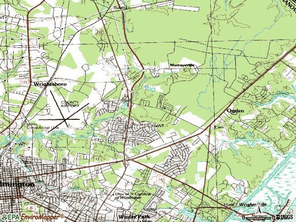 Zip code 28405 topographic map