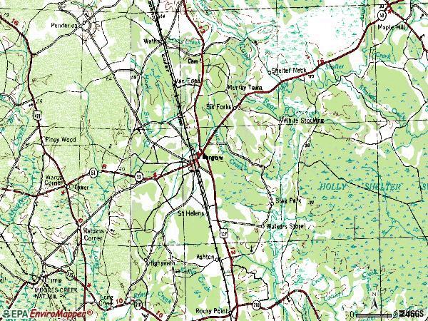 Zip code 28425 topographic map