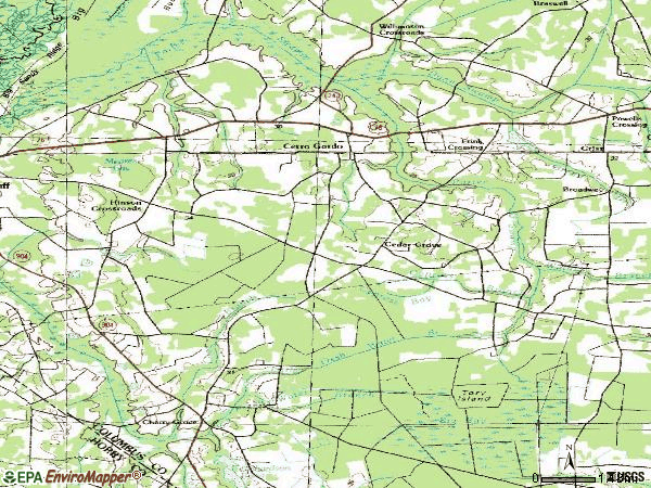 Zip code 28430 topographic map