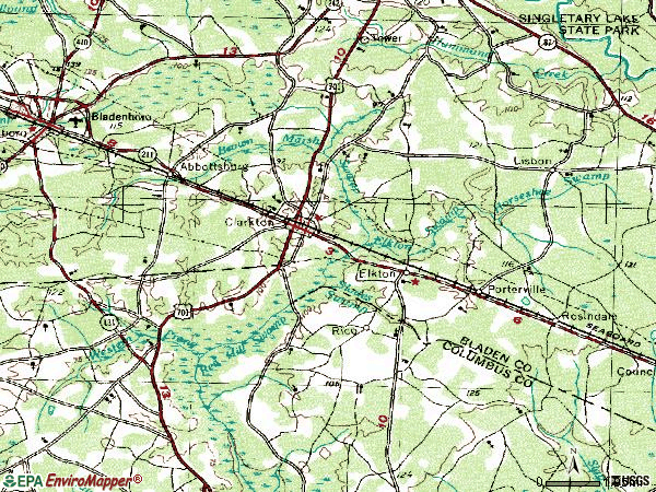 Zip code 28433 topographic map
