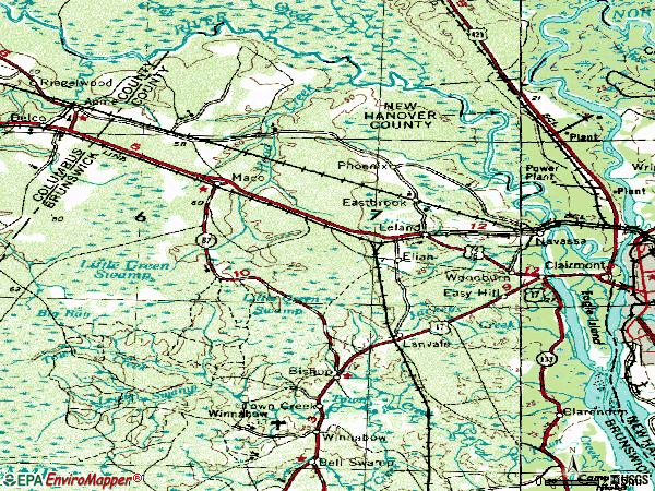 Zip code 28451 topographic map