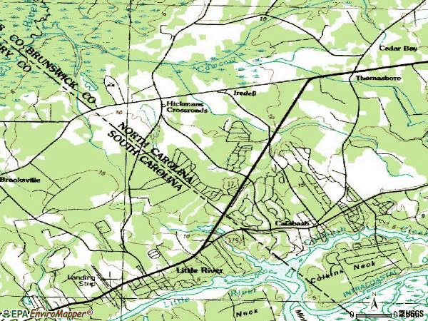 Zip code 28467 topographic map