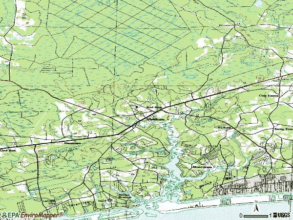 Zip code 28470 topographic map