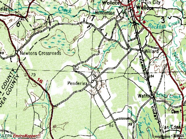 Zip code 28478 topographic map