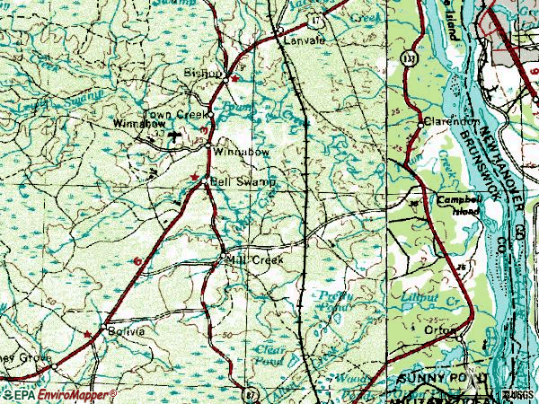 Zip code 28479 topographic map