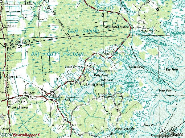 Zip code 28515 topographic map