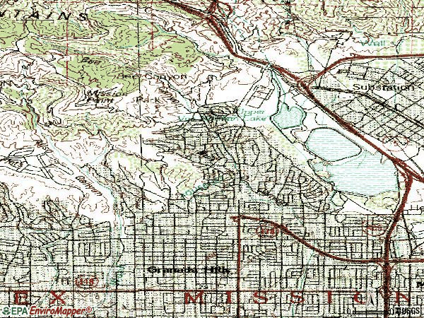 Zip code 91344 topographic map