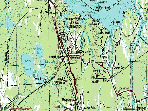 Zip code 28532 topographic map