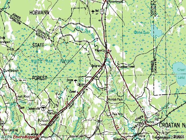 Zip code 28555 topographic map