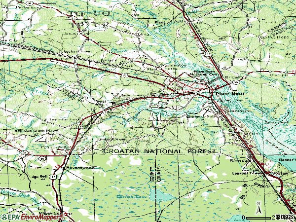 Zip code 28562 topographic map