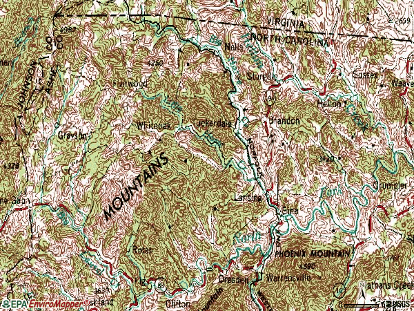 Zip code 28643 topographic map