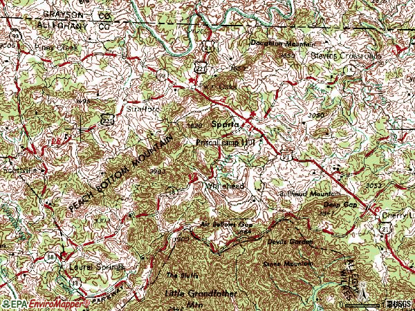 Zip code 28675 topographic map