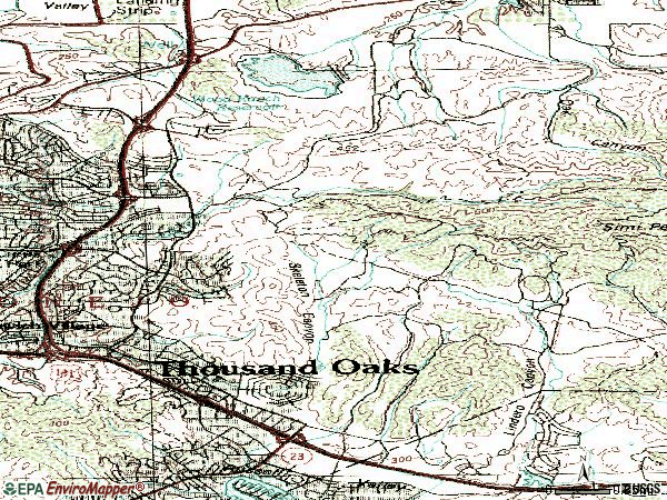 Zip code 91362 topographic map
