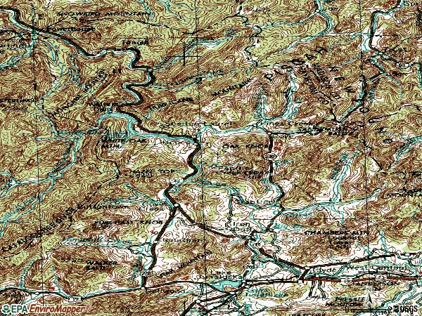 Zip code 28721 topographic map