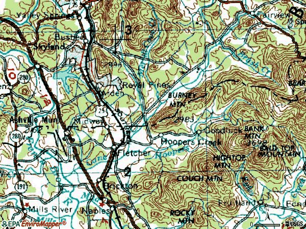 Zip code 28732 topographic map