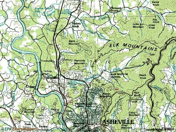Zip code 28804 topographic map