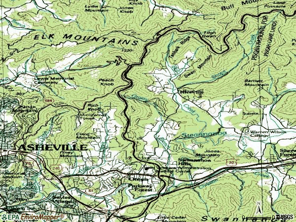 Zip code 28805 topographic map