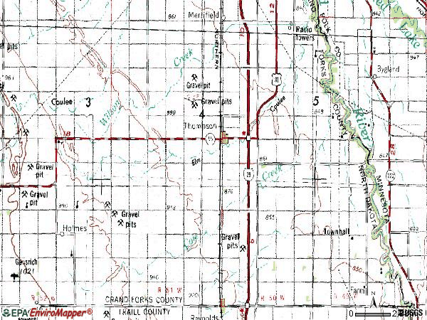 Zip code 58278 topographic map