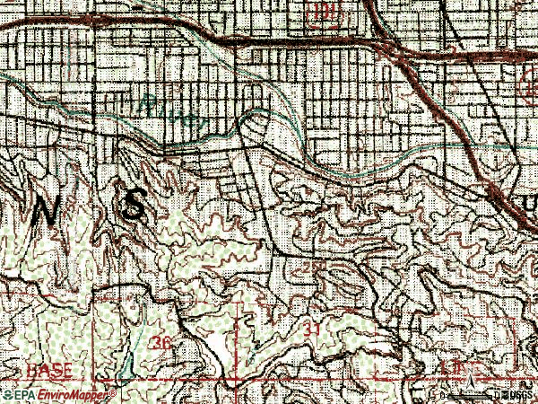 Zip code 91604 topographic map