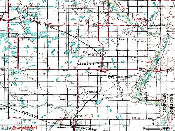 Zip code 58425 topographic map