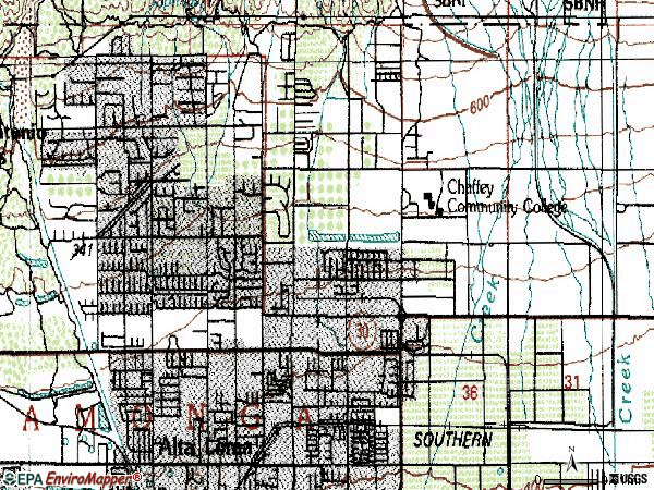 Zip code 91701 topographic map