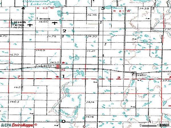 Zip code 58441 topographic map