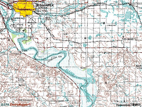 Zip code 58504 topographic map