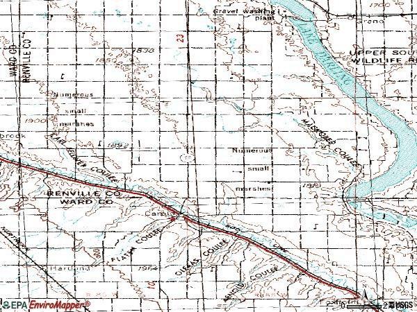 Zip code 58725 topographic map