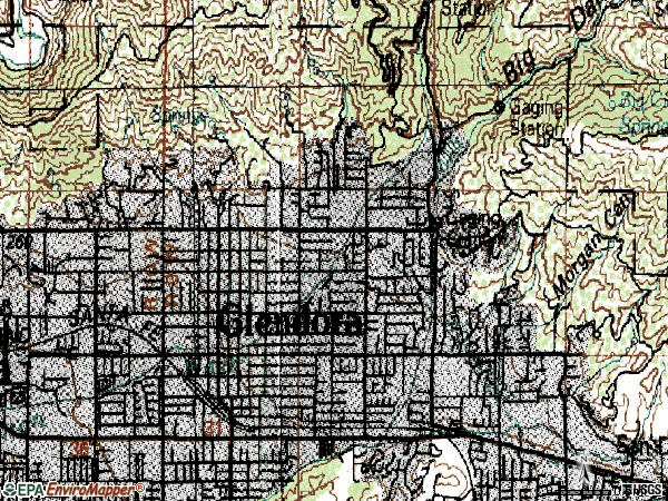 Zip code 91741 topographic map