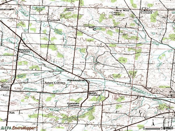 Zip code 43001 topographic map