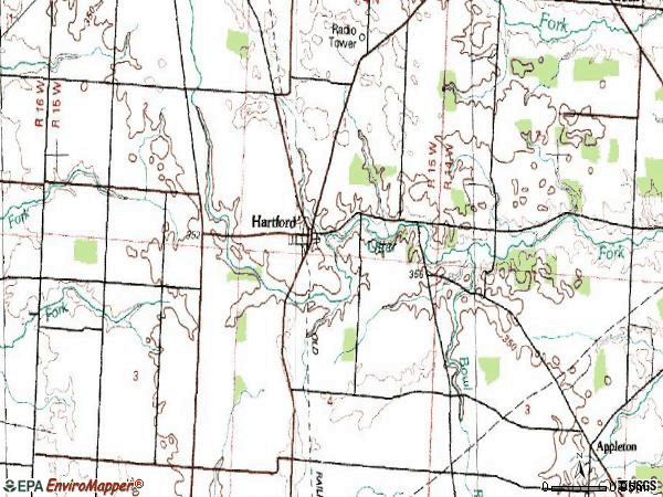Zip code 43013 topographic map