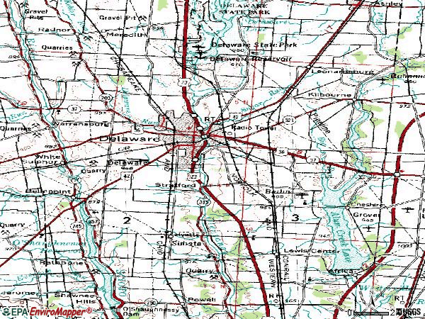 Zip code 43015 topographic map