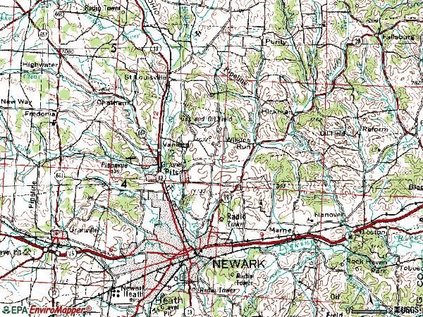 Zip code 43055 topographic map
