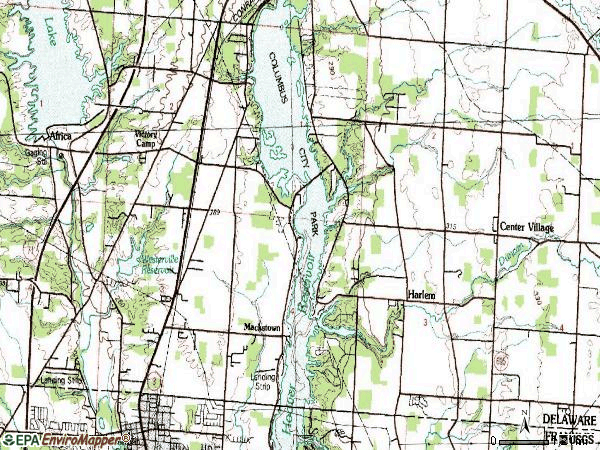 Zip code 43082 topographic map