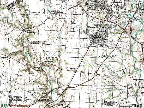 Zip code 43123 topographic map