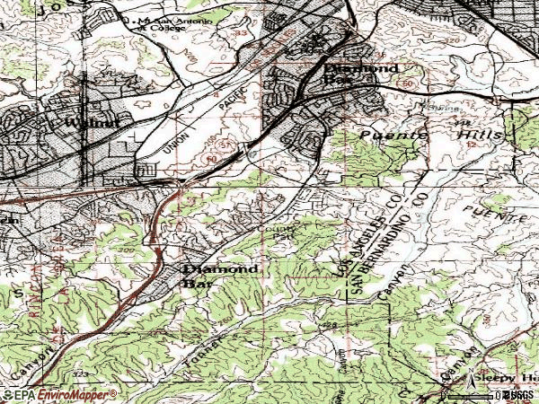 Zip code 91765 topographic map